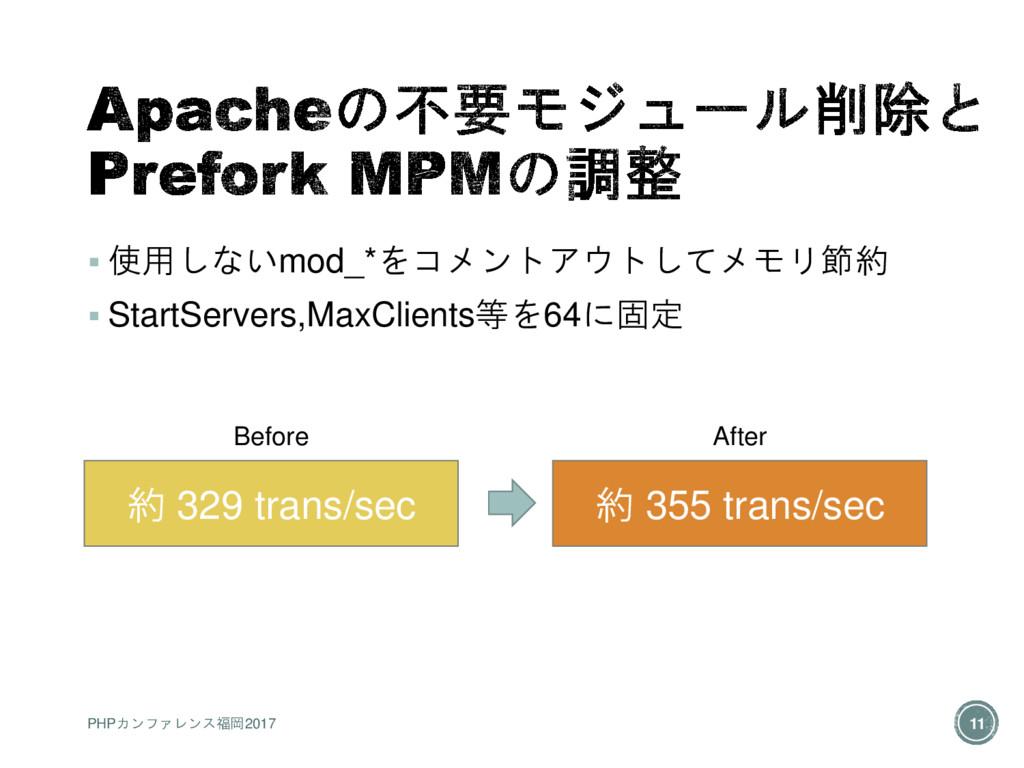  使用しないmod_*をコメントアウトしてメモリ節約  StartServers,MaxC...