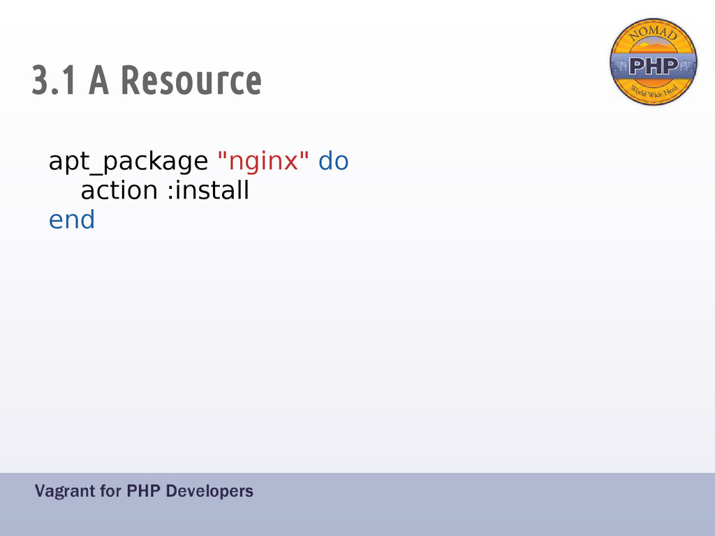 "3.1 A Resource apt_package ""nginx"" do action :i..."