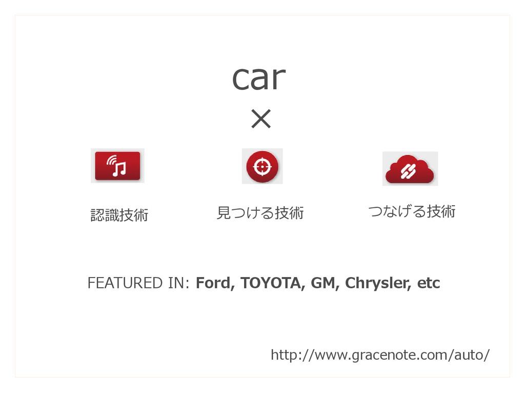 認識技術 見つける技術 つなげる技術 car × FEATURED IN: Ford, TOY...