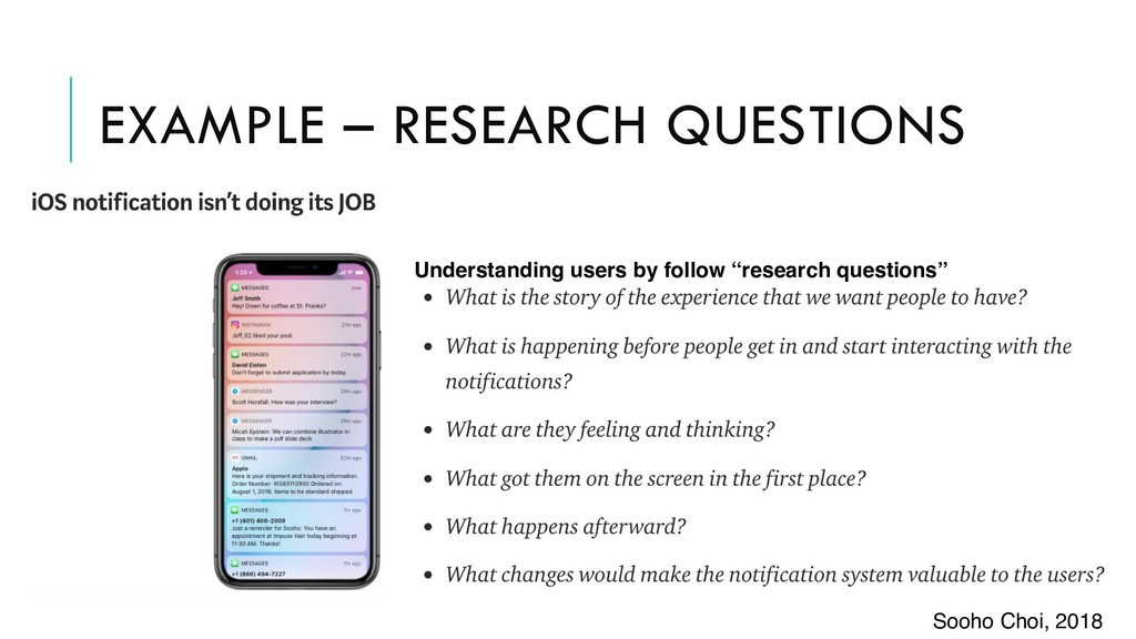 EXAMPLE – RESEARCH QUESTIONS Understanding user...