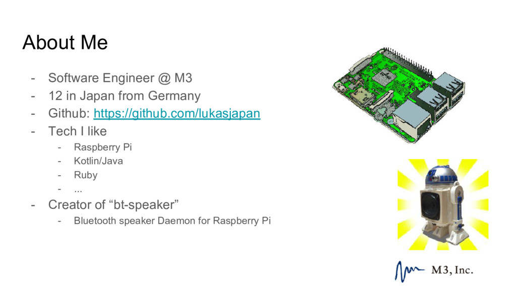 About Me - Software Engineer @ M3 - 12 in Japan...