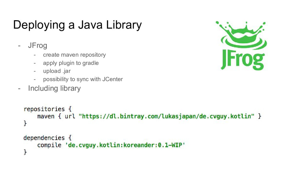 Deploying a Java Library - JFrog - create maven...