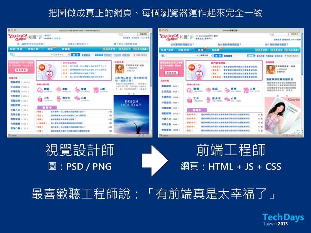 前端工程師 圖:PSD / PNG 網頁:HTML + JS + CSS 視覺設計師 把圖做成...