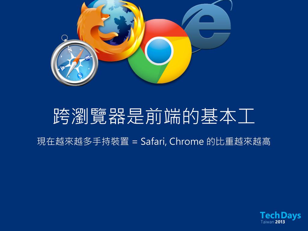 跨瀏覽器是前端的基本工 現在越來越多手持裝置 = Safari, Chrome 的比重越來越高