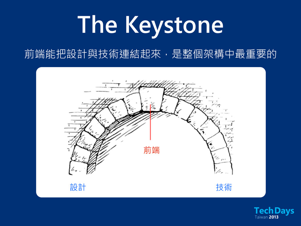 前端 設計 技術 The Keystone 前端能把設計與技術連結起來,是整個架構中最重要的
