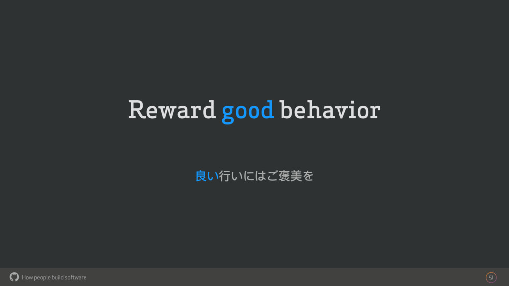 How people build software ! Reward good behavio...