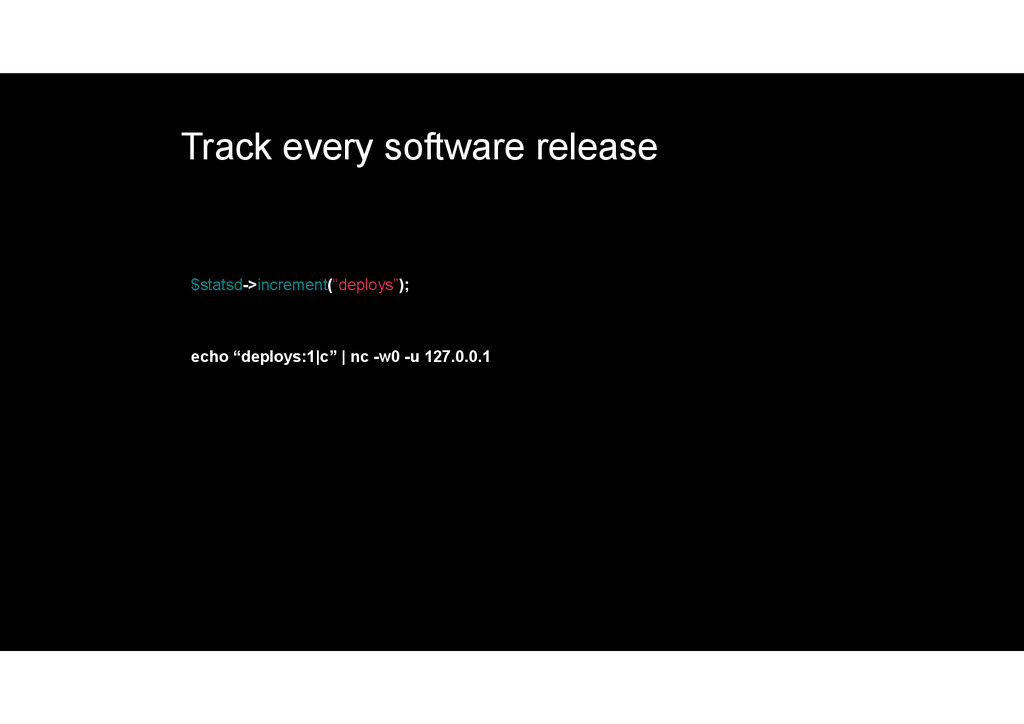 Track every software release $statsd->increment...