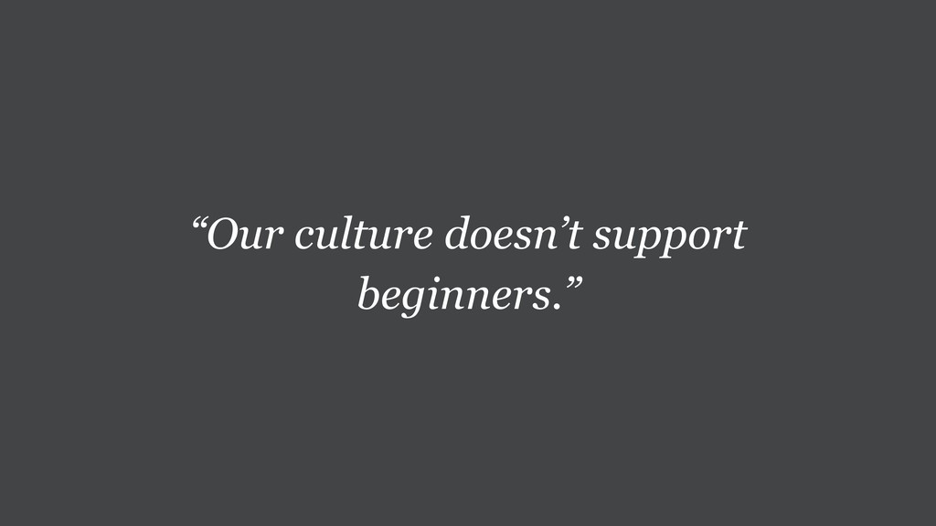 """Our culture doesn't support beginners."""