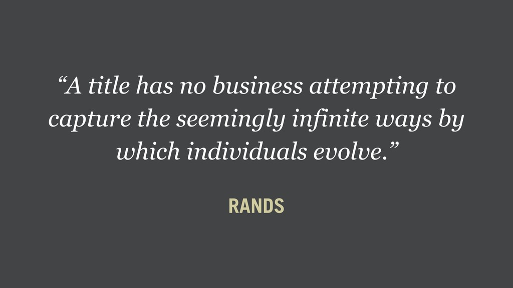 """A title has no business attempting to capture ..."