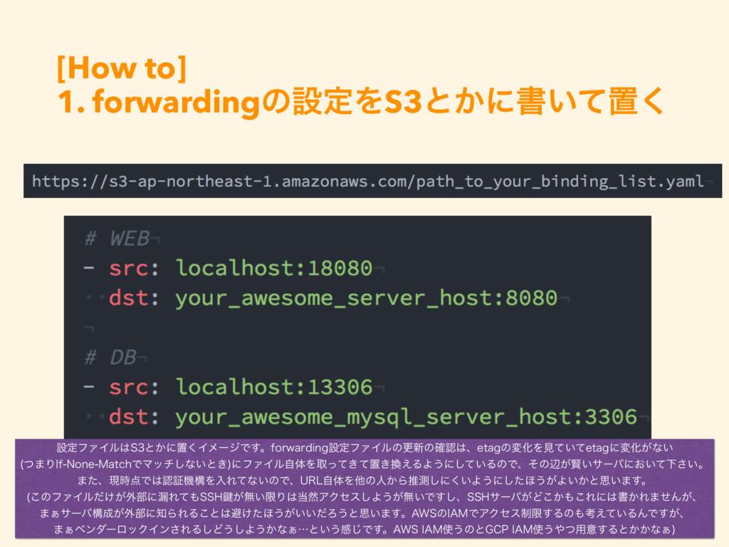 [How to] 1. forwardingͷઃఆΛS3ͱ͔ʹॻ͍ͯஔ͘ ઃఆϑΝΠϧ4ͱ...