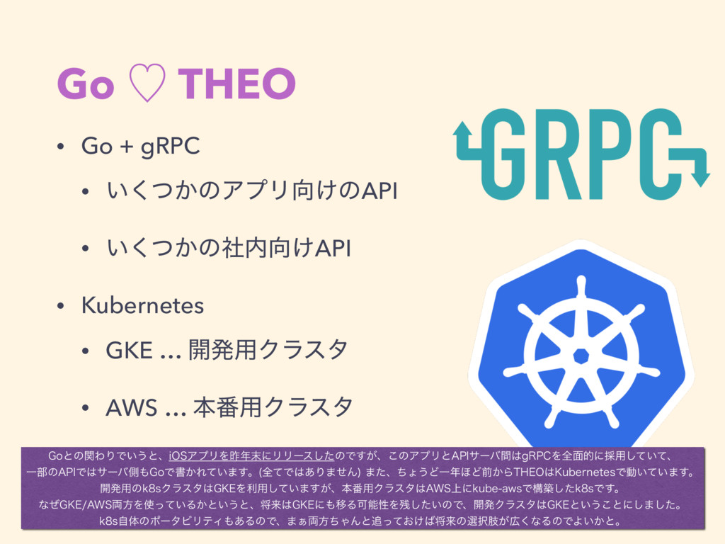 Go ὑ THEO • Go + gRPC • ͍͔ͭ͘ͷΞϓϦ͚ͷAPI • ͍͔ͭ͘ͷࣾ...