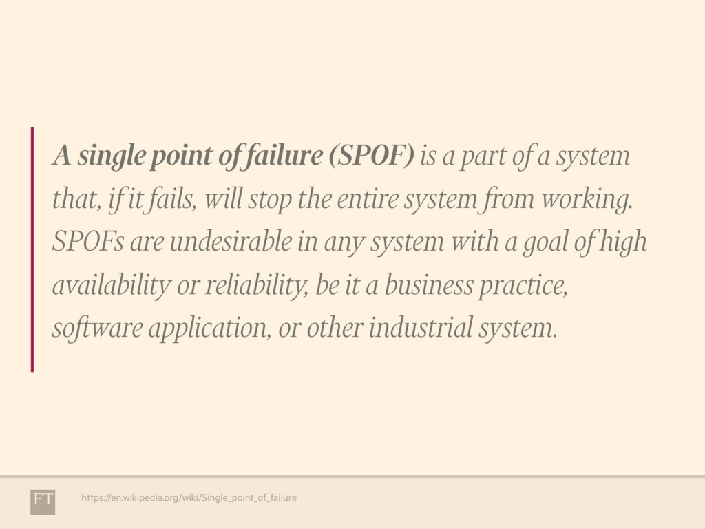 A single point of failure (SPOF) is a part of a...