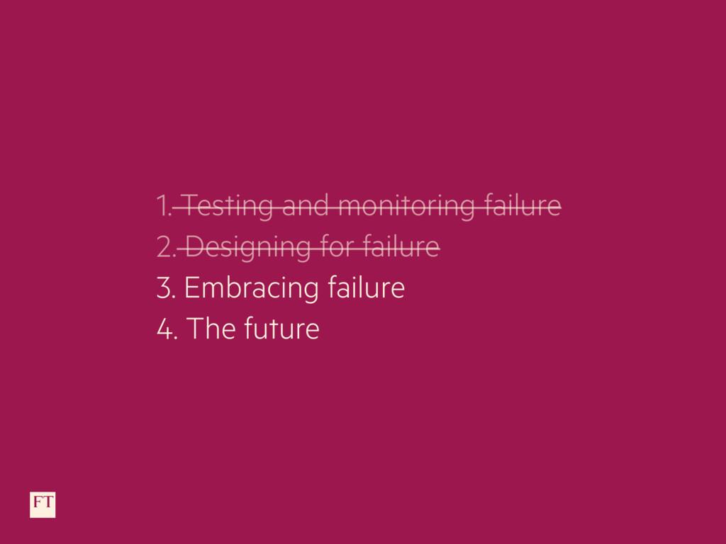 1. Testing and monitoring failure 2. Designing ...
