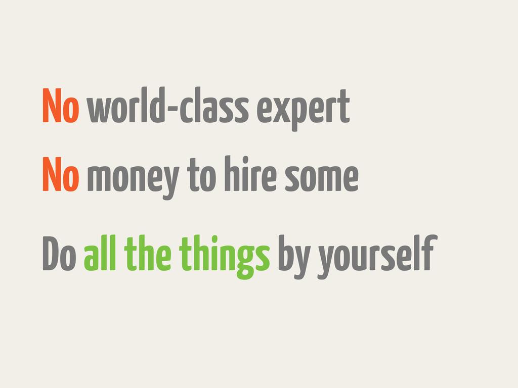 No world-class expert No money to hire some Do ...