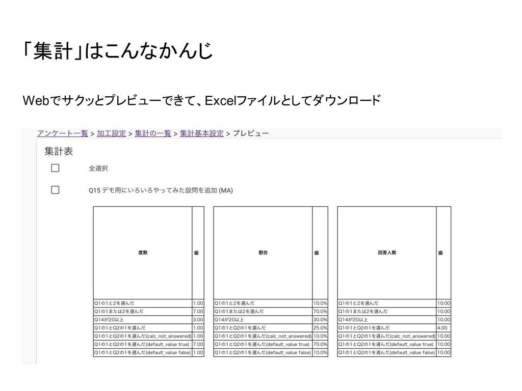 「集計」はこんなかんじ Webでサクッとプレビューできて、Excelファイルとしてダウンロード