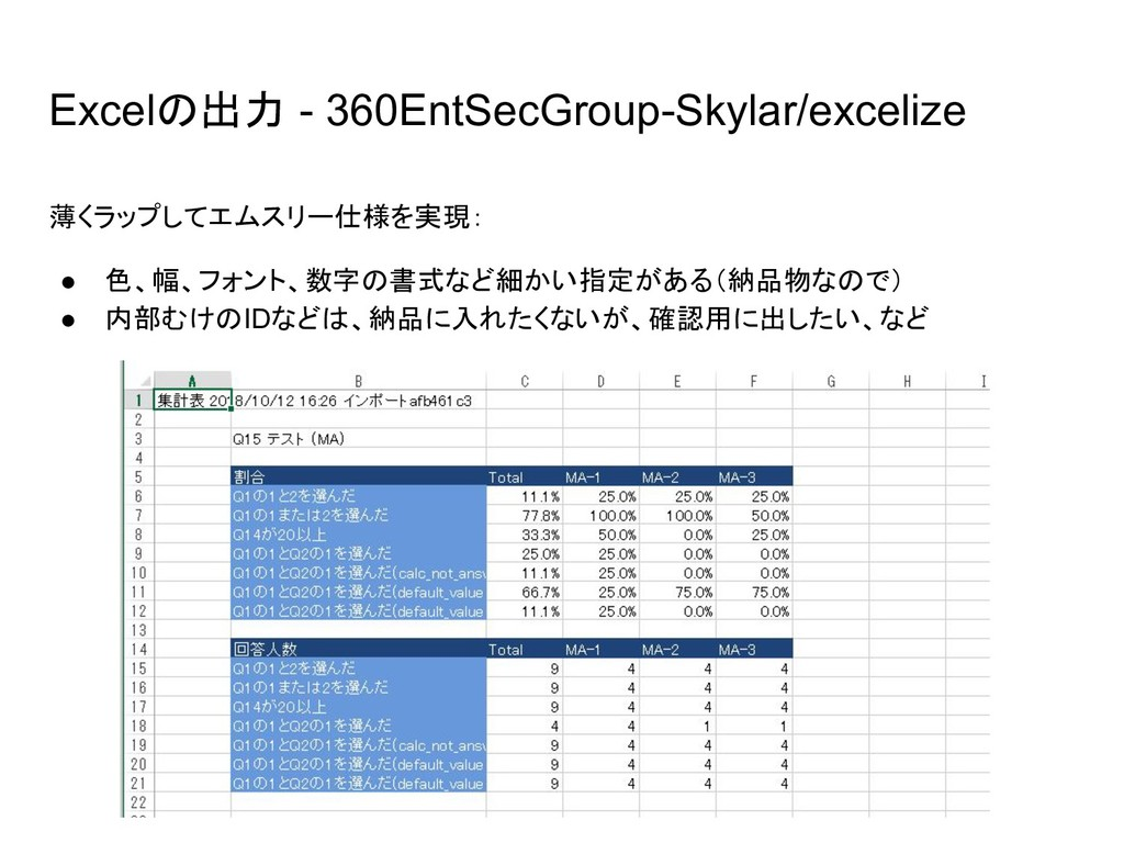 Excelの出力 - 360EntSecGroup-Skylar/excelize 薄くラップ...