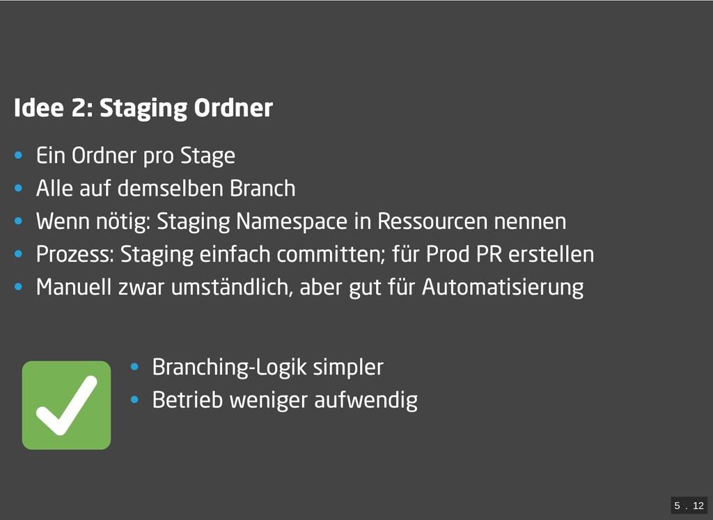 / Idee 2: Staging Ordner • Ein Ordner pro Stage...