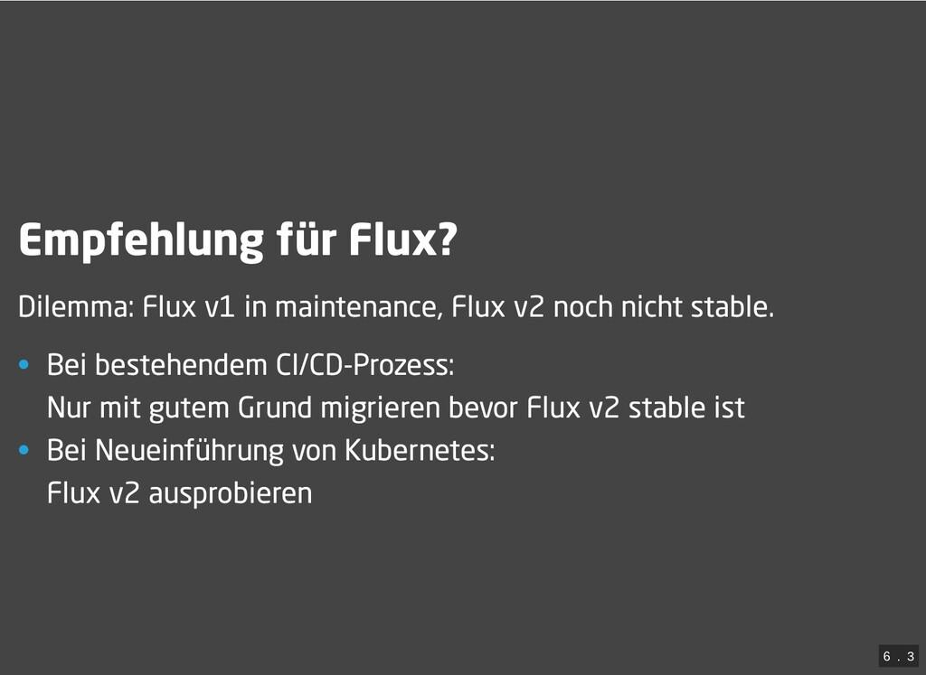 / Empfehlung für Flux? Dilemma: Flux v1 in main...