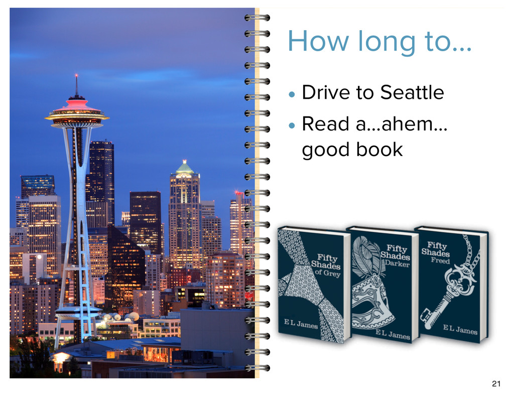 How long to… • Drive to Seattle • Read a…ahem… ...