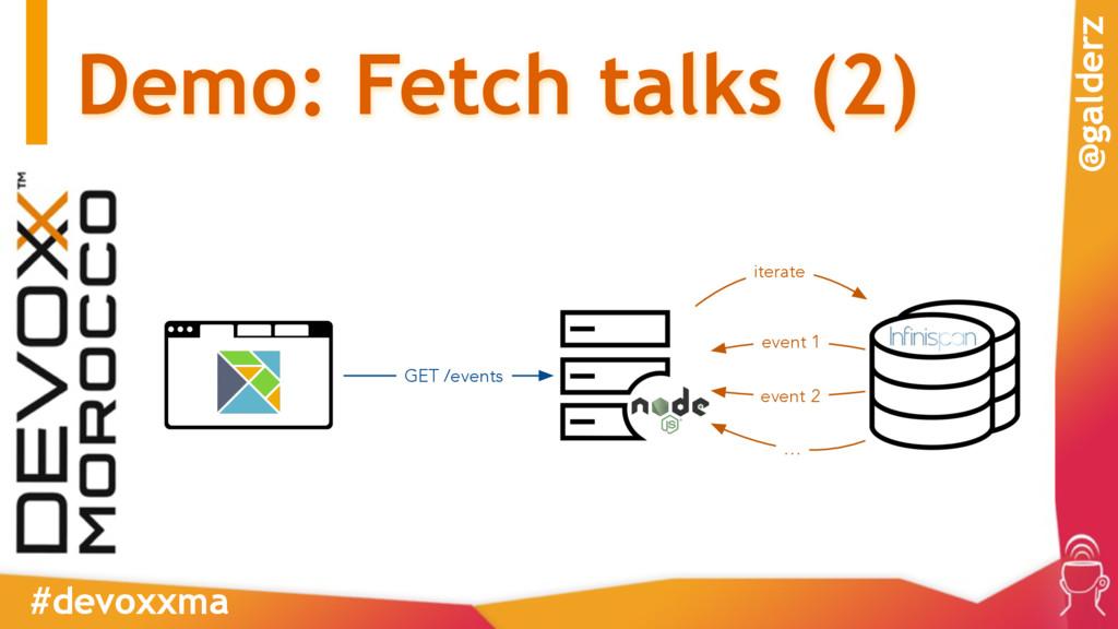 Demo: Fetch talks (2) #devoxxma @galderz GET /e...