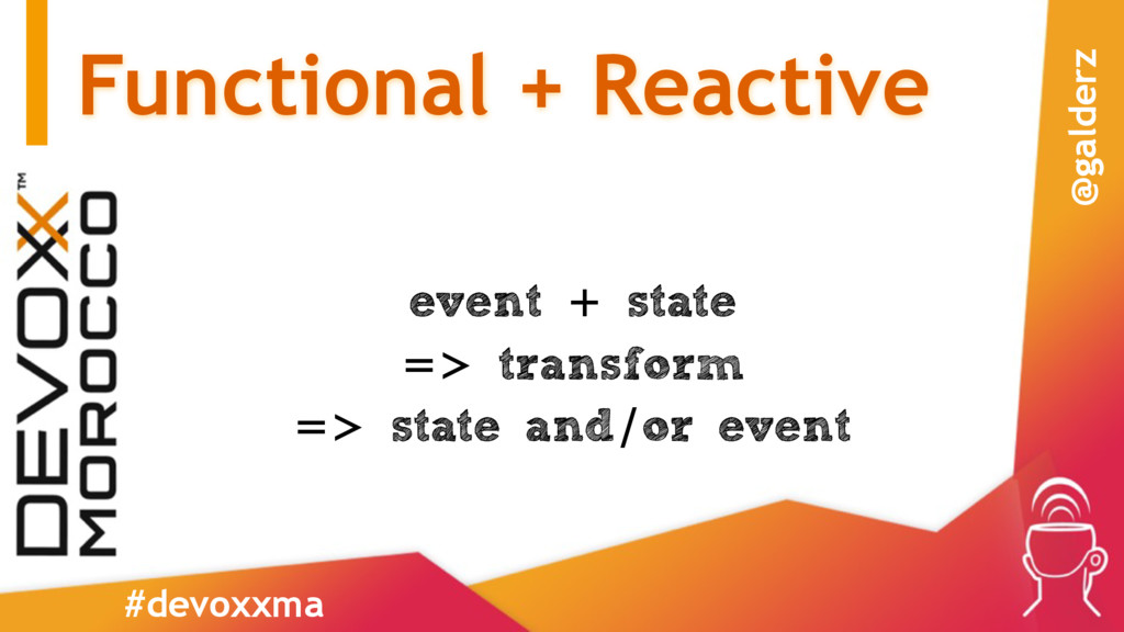 Functional + Reactive event + state => transfor...