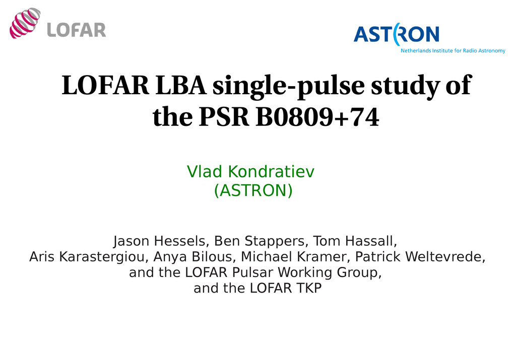 LOFAR LBA single­pulse study of the PSR B0809+7...