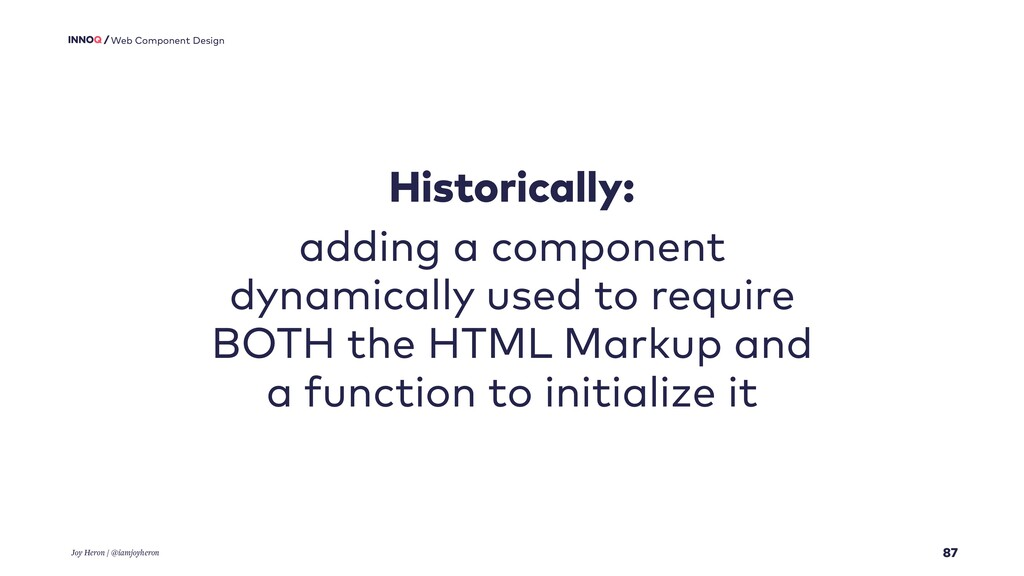 87 Web Component Design Historically: adding a ...