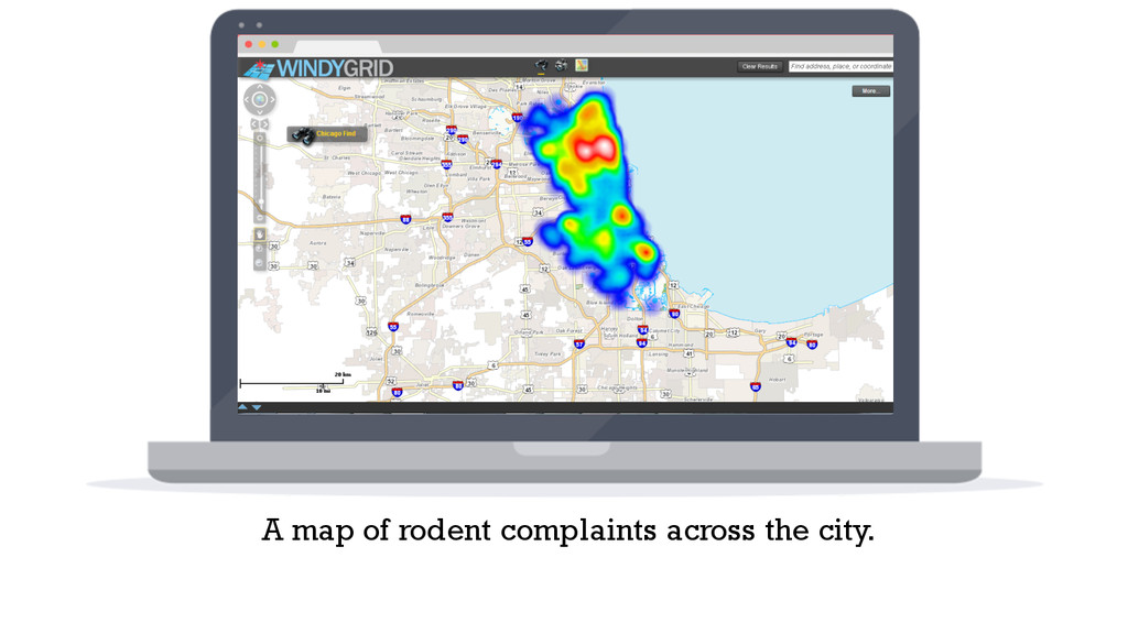 A map of rodent complaints across the city.