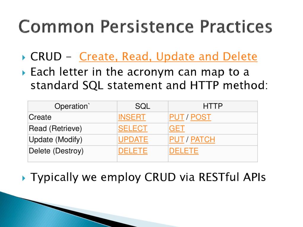  CRUD - Create, Read, Update and Delete  Each...