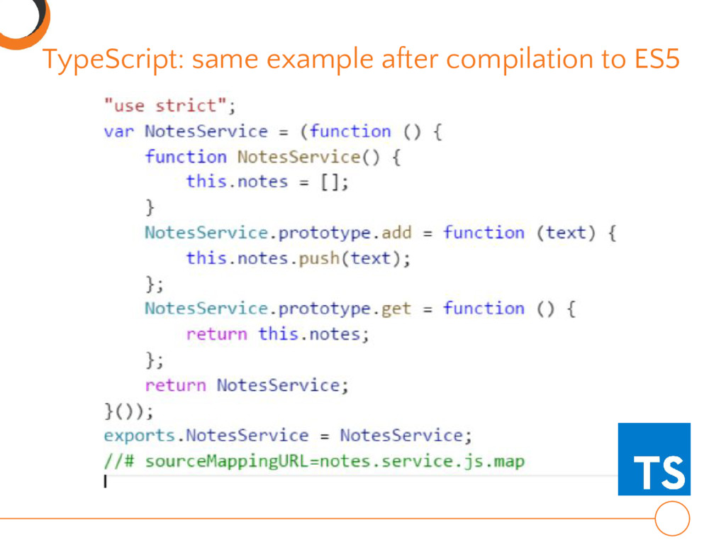 TypeScript: same example after compilation to E...