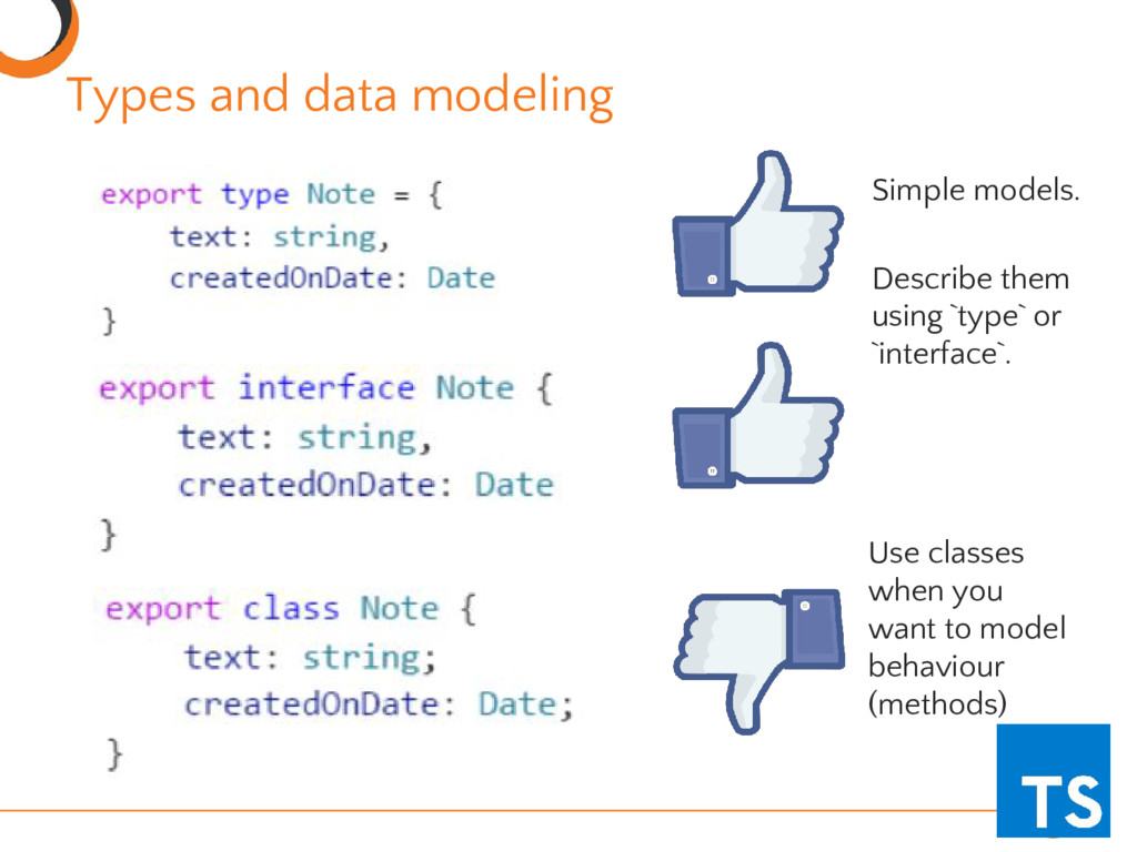 Types and data modeling Simple models. Describe...