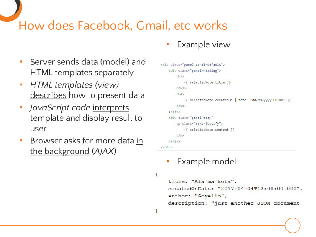 How does Facebook, Gmail, etc works • Server se...