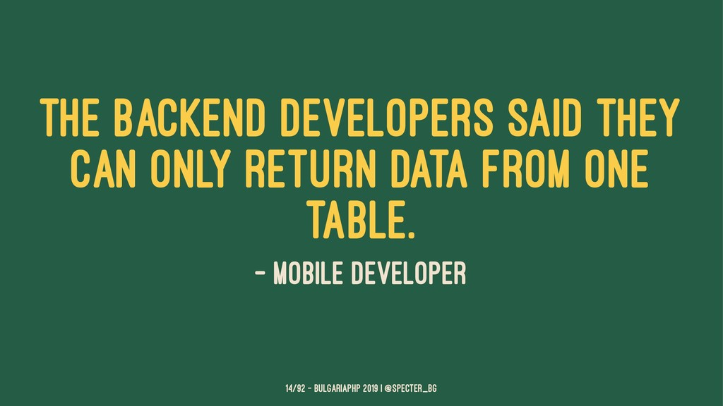The backend developers said they can only retur...