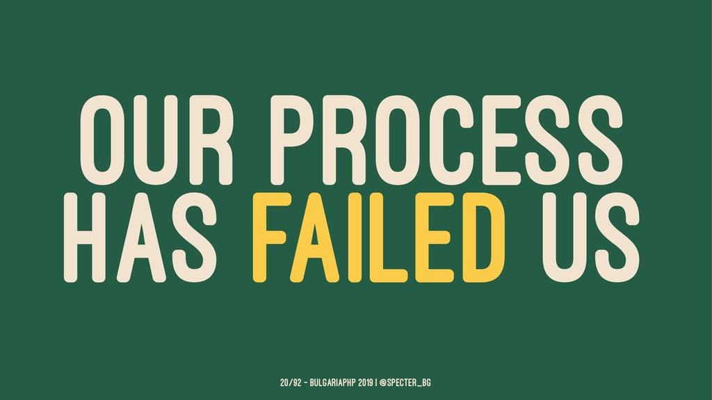 OUR PROCESS HAS FAILED US 20/92 — BulgariaPHP 2...