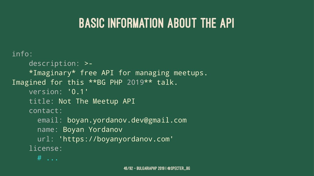 BASIC INFORMATION ABOUT THE API info: descripti...