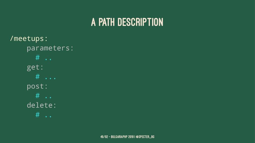 A path description /meetups: parameters: # .. g...
