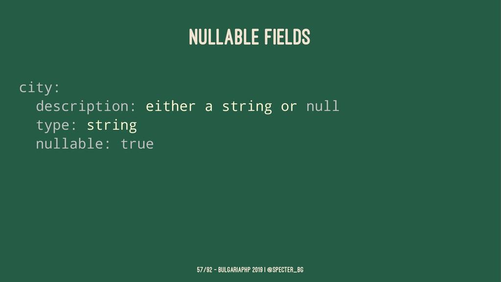 NULLABLE FIELDS city: description: either a str...
