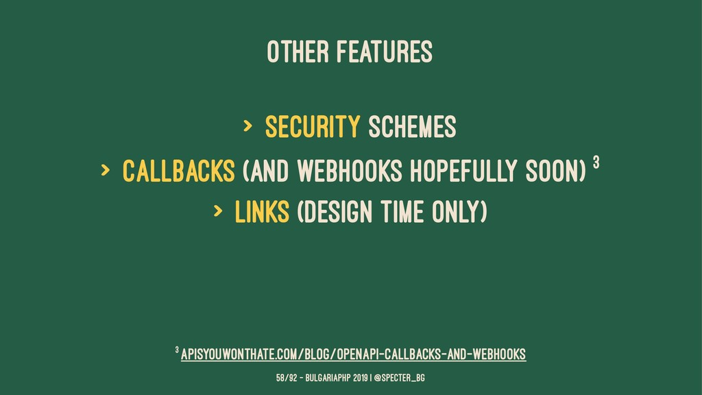 OTHER FEATURES > Security schemes > callbacks (...