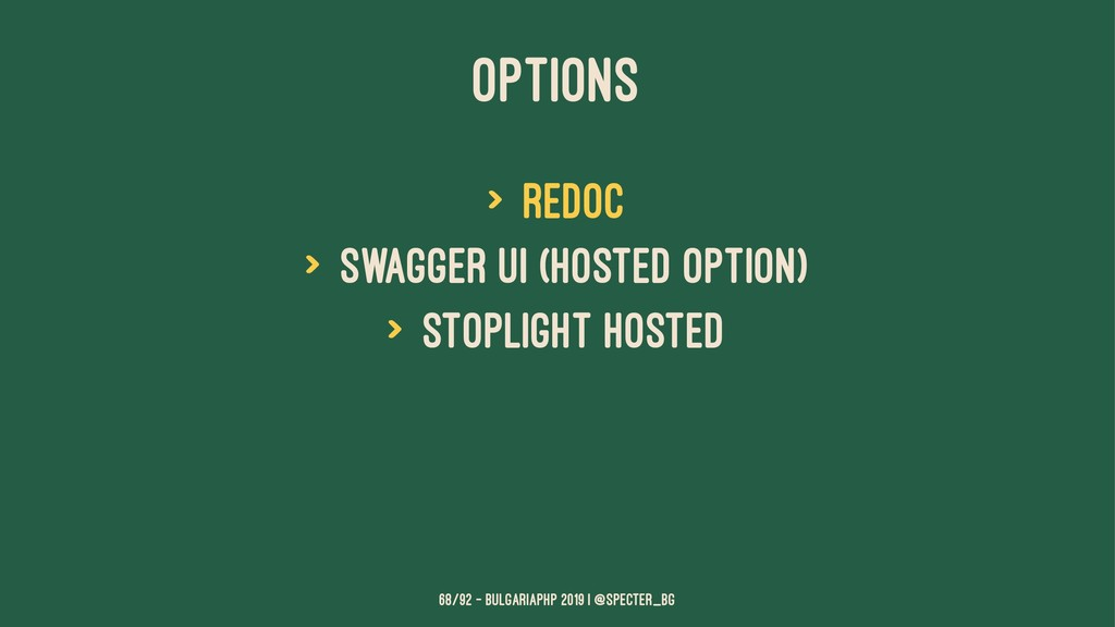 OPTIONS > ReDoc > Swagger UI (hosted option) > ...