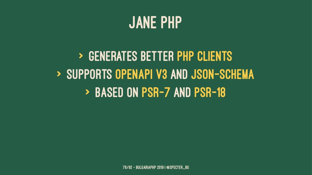 JANE PHP > generates better php clients > suppo...