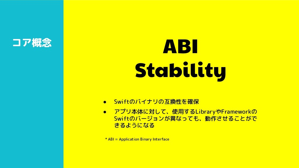 ABI Stability コア概念 ● Swiftのバイナリの互換性を確保 ● アプリ本体に...