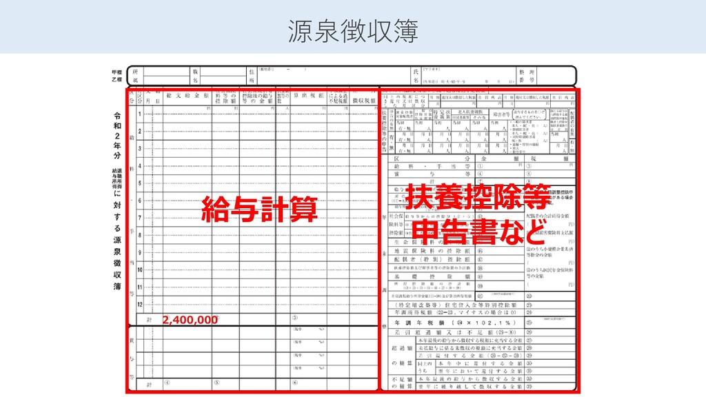 源泉徴収簿 給与計算 2,400,000 扶養控除等 申告書など