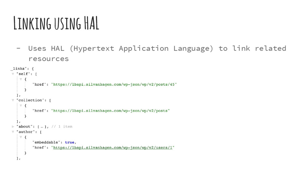 Linking using HAL - Uses HAL (Hypertext Applica...