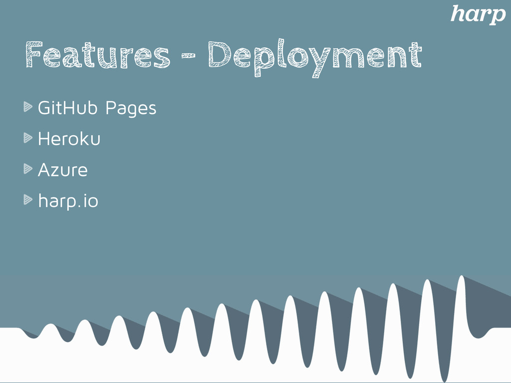 Features - Deployment GitHub Pages Heroku Azure...