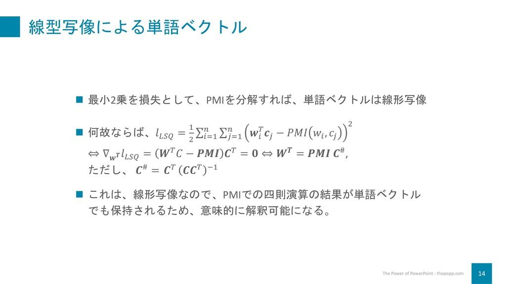 線型写像による単語ベクトル 14 The Power of PowerPoint - thep...