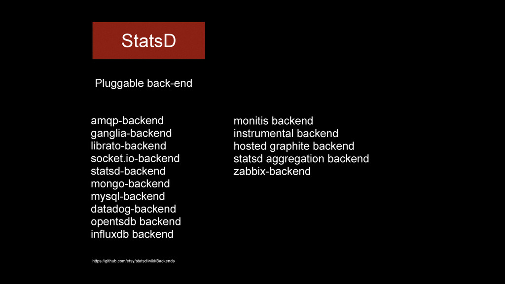 StatsD Pluggable back-end amqp-backend ganglia-...
