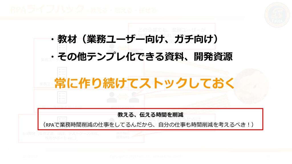 RPAライフハック ‐ 教える・伝える・任せる- 2020/10/6 Copyright © ...
