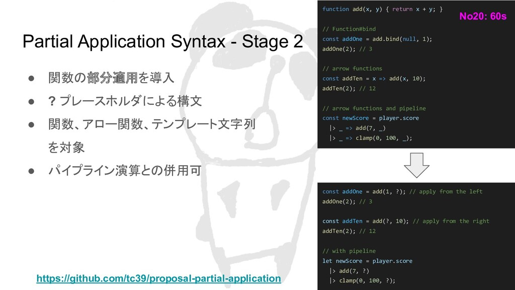Partial Application Syntax - Stage 2 ● 関数の部分適用を...