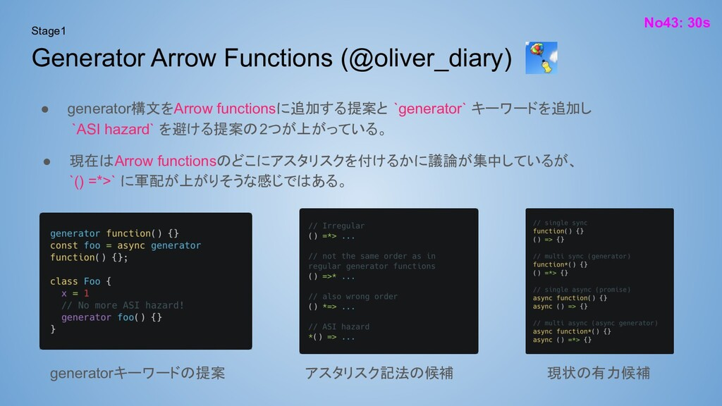 Generator Arrow Functions (@oliver_diary) No43:...