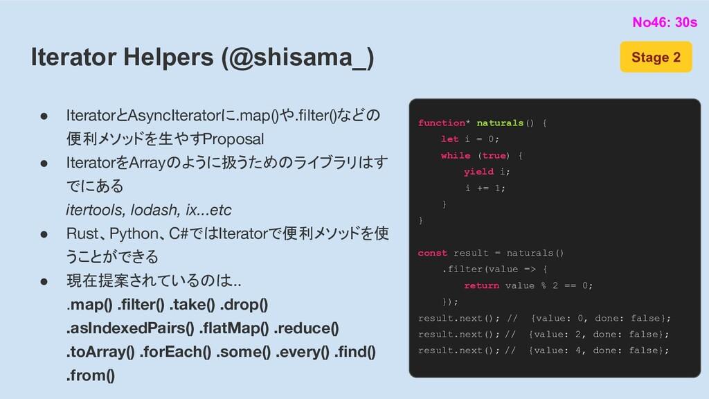 Iterator Helpers (@shisama_) ● IteratorとAsyncIt...